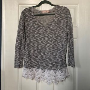 Tops - Grey knit top with lace